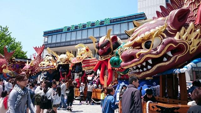 にぎわう唐津の春季例大祭