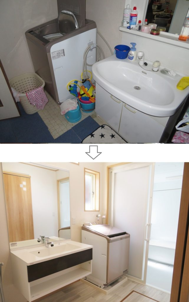 m様邸 リフォーム ビフォーアフター4- 洗面脱衣室