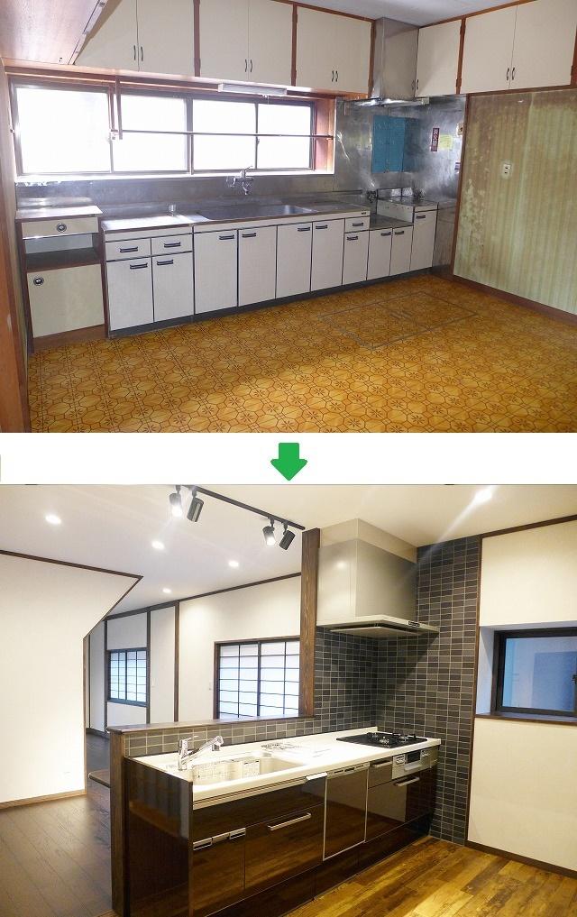 キッチン周り h様邸リノベーション (大規模リフォーム) ビフォーアフター